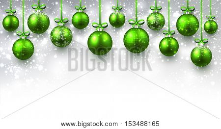 New Year background with green Christmas balls. Vector illustration.