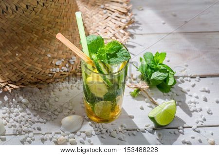 Sweet Drink With Mint Leaf In Hot Day
