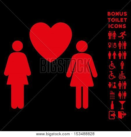 Lesbi Love Pair icon and bonus male and lady restroom symbols. Vector illustration style is flat iconic symbols, red color, black background.