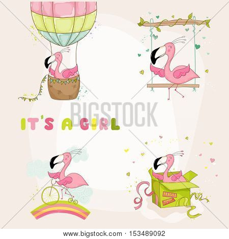 Baby Flamingo Set - Baby Shower or Arrival Card - in vector
