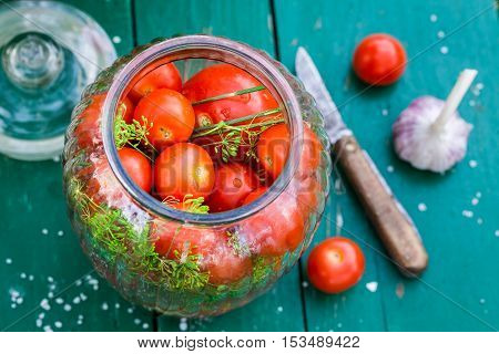 Closeup Of Homemade Pickled Tomatoes In The Jar