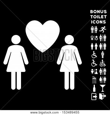 Lesbi Love Pair icon and bonus gentleman and woman restroom symbols. Vector illustration style is flat iconic symbols, white color, black background.