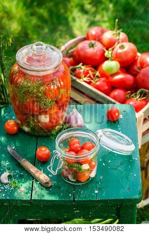 Preparation For Pickled Tomatoes In The Jar