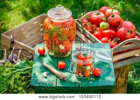 Preparation For Pickled Tomatoes With Home Grown Ingredients