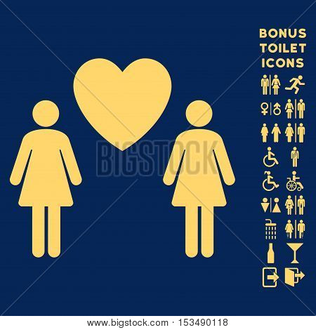 Lesbi Love Pair icon and bonus man and female restroom symbols. Vector illustration style is flat iconic symbols, yellow color, blue background.