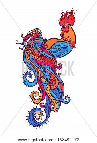 Zodiac Signs of Rooster. Chinese New year 2017 beautiful illustration ornamental feathers. Coloring book for adults. Cock vector