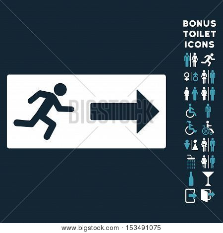 Emergency Exit icon and bonus man and woman WC symbols. Vector illustration style is flat iconic bicolor symbols, blue and white colors, dark blue background.