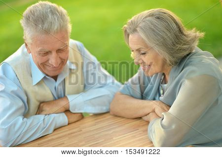 Senior couple sitting at the table during vacation
