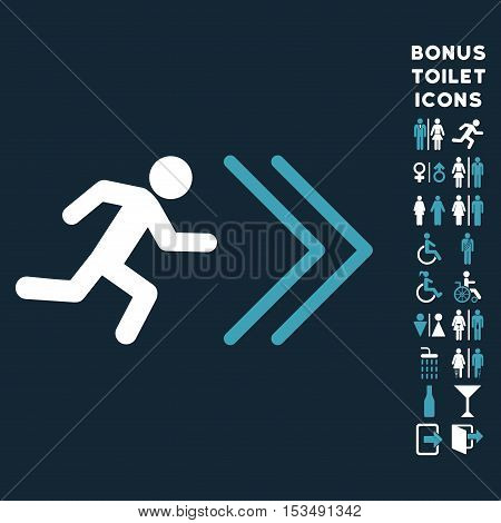 Exit Direction icon and bonus male and lady restroom symbols. Vector illustration style is flat iconic bicolor symbols, blue and white colors, dark blue background.
