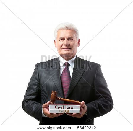 Portrait of successful male judge isolated on white