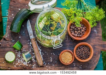 Spices For Pickling Zucchini In The Jar