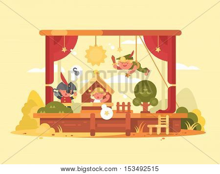 Performance children on scene. Play in theater with boy and girl. Vector illustration