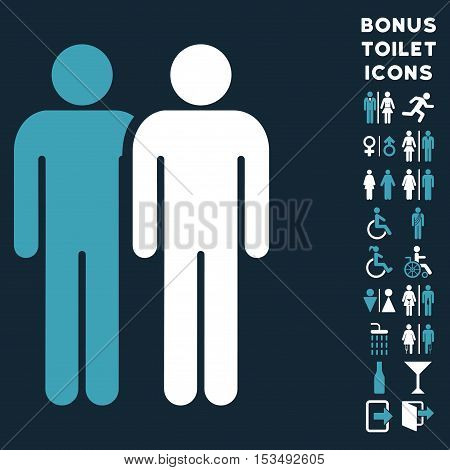 Gay Couple icon and bonus gentleman and female lavatory symbols. Vector illustration style is flat iconic bicolor symbols, blue and white colors, dark blue background.