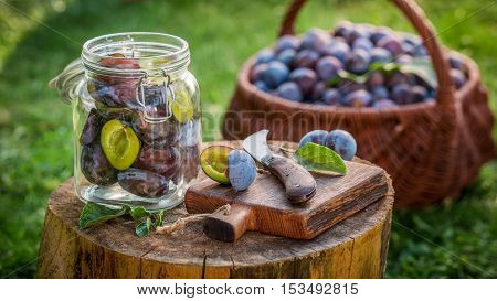 Preparation of compote from plums in countryside at summer