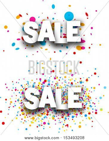 Sale paper white banners with color drops. Vector illustration.