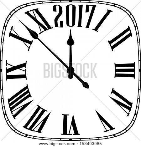 2017 New Year black and white clock. Vector paper illustration.