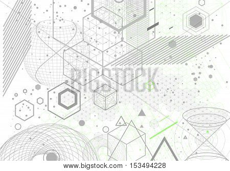 Sacred geometry symbols and elements background. Cosmic universe bing bang alchemy religion philosophy astrology science physics chemistry and spirituality themes