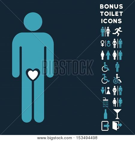 Lover Guy icon and bonus gentleman and lady toilet symbols. Vector illustration style is flat iconic bicolor symbols, blue and white colors, dark blue background.
