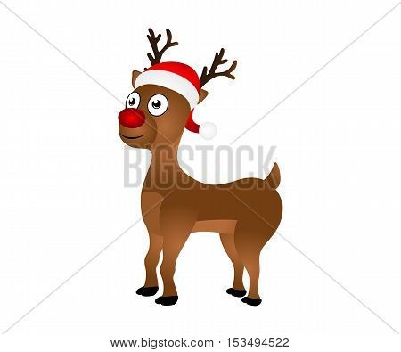 Cheerful cartoon reindeer on a white background, vector illustration