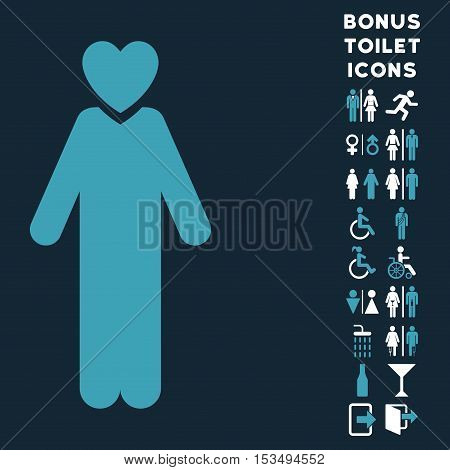 Lover Man icon and bonus gentleman and lady restroom symbols. Vector illustration style is flat iconic bicolor symbols, blue and white colors, dark blue background.