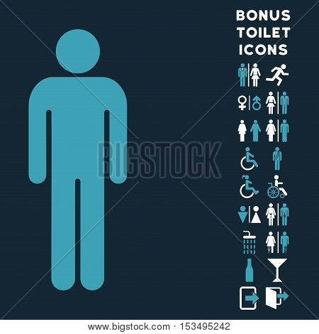 Man icon and bonus male and female WC symbols. Vector illustration style is flat iconic bicolor symbols, blue and white colors, dark blue background.