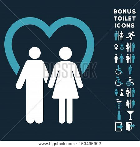 Marriage icon and bonus gentleman and female restroom symbols. Vector illustration style is flat iconic bicolor symbols, blue and white colors, dark blue background.