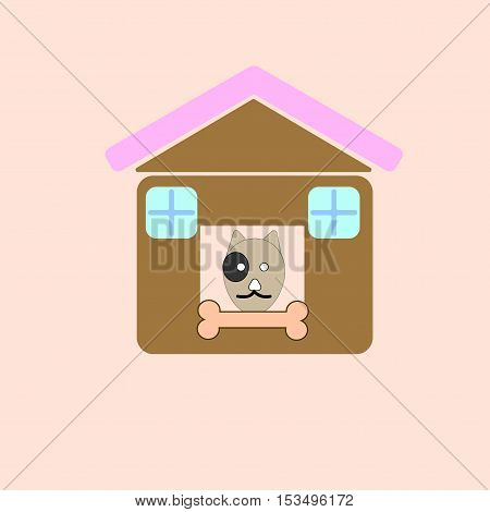 home dog illustration of isolated cartoon dog in dog house on pink