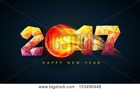 Creative low-poly text 2017 with fiery cricket ball. Vector illustration for Happy New Year celebration.