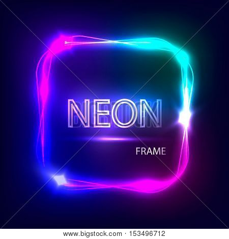 Neon square glowing frame. Light banner with neon effect. Electric frame on dark background. Neon sign with flares and sparkles. Vintage vector illustration