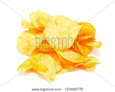 potato chips isolated white food eating background yellow chip