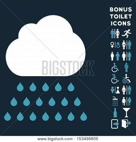 Rain Cloud icon and bonus man and lady restroom symbols. Vector illustration style is flat iconic bicolor symbols, blue and white colors, dark blue background.