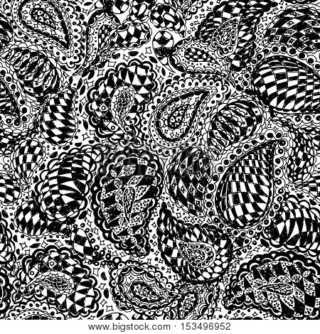 Geometric doodle seamless wallpaper pattern. Illustration with paisley ornaments and chess texture. Textile with hand-drawn checker elements. Black and white color.