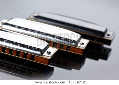 Tree harmonicas on dark background
