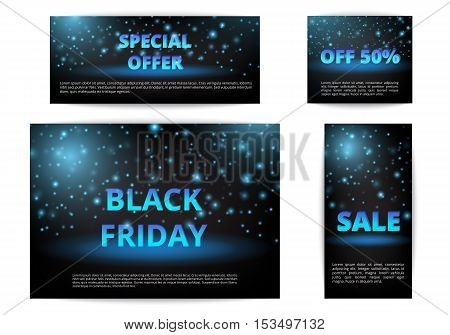 Set of banners sale. Black Friday special. Christmas shopping. New Year discounts. Vector.