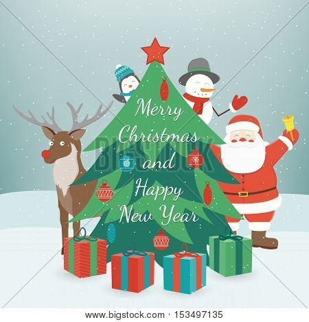 Greeting Christmas and New Year card. Merry christmas and happy new year wishes. Vector illustration