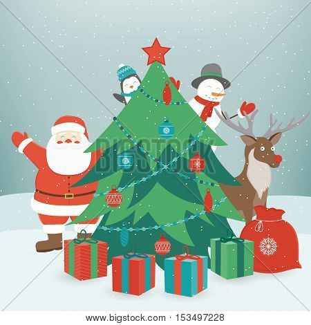 Christmas composition with funny christmas characters. Vector illustration
