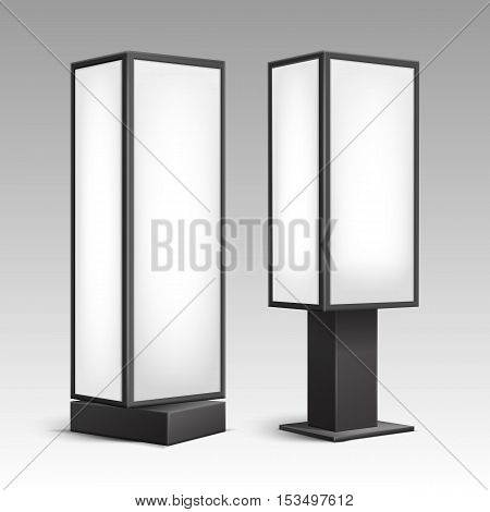 Vector Black White Luminous Rectangular Poster Stands Pillars for Indoor Advertising Side View Isolated on Background