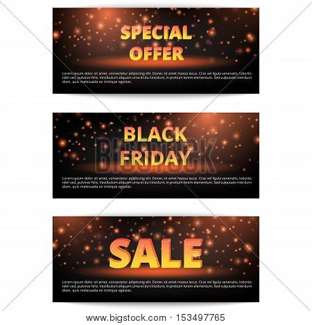 Set of banners Christmas discounts. Holiday offer. New Year sale. Buy online.