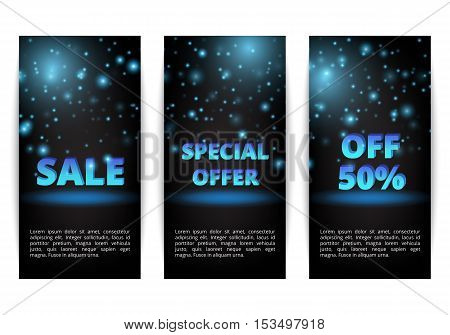Set of banners winter sale. Special offer. Christmas shopping. Buy online.