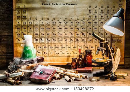 Research in the old chemical laboratory on old wooden table