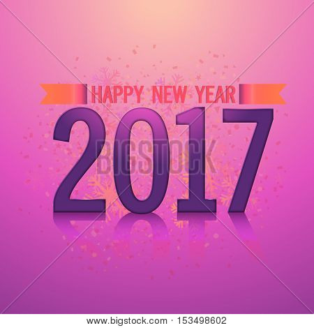 Glossy text 2017 on snowflakes decorated background. Elegant greeting card design for Happy New Year celebration.
