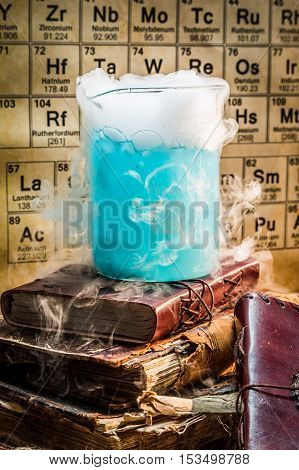 Dynamic Blue Component Chemical Reaction In The Laboratory