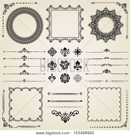 Vintage set of elements. Different elements for decoration and design frames, cards, menus, backgrounds and monograms. Collection of floral ornaments