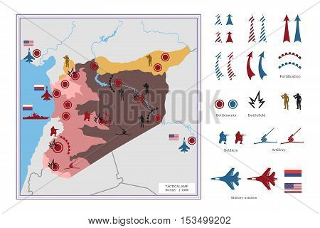 Military tactical map with icons. The conflict in Syria. Vector illustration