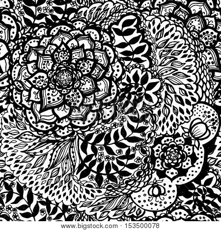Floral doodle seamless wallpaper pattern. Illustration with paisley ornaments. Textile with hand-drawn flowers. Black and white color.
