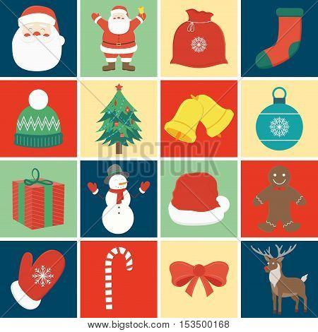Christmas icon set. Decoration elements. Vector illustration
