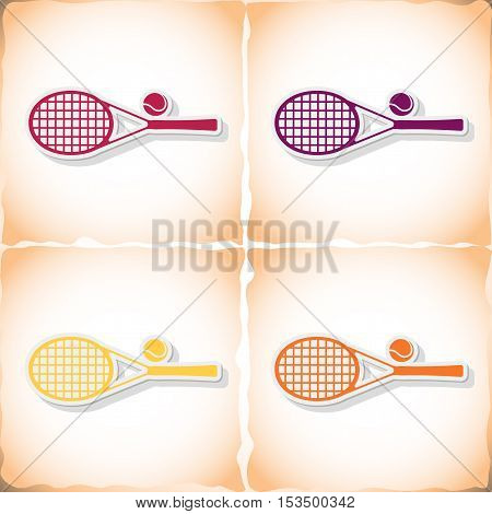 Tennis racket. Flat sticker with shadow on old paper. Vector illustration