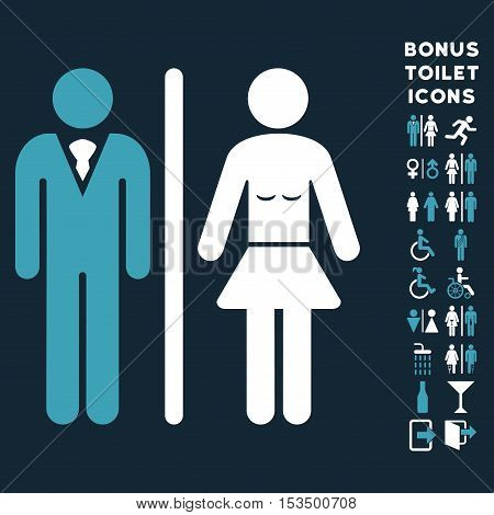 Toilet Persons icon and bonus gentleman and female lavatory symbols. Vector illustration style is flat iconic bicolor symbols, blue and white colors, dark blue background.