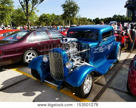 Amsterdam The Netherlands - September 10 2016: Blue Ford T Hot Rod on display during Cars & Coffee XXL show. Non-ticketed public event held in the streets of the city with people carspotting.