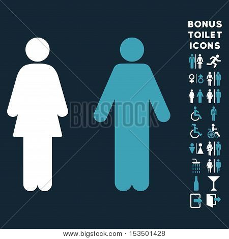 WC Persons icon and bonus gentleman and woman lavatory symbols. Vector illustration style is flat iconic bicolor symbols, blue and white colors, dark blue background.